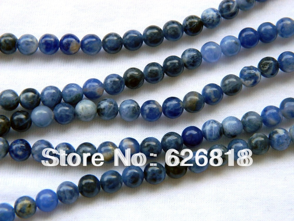 Free shipping charms bulk beads (3 strands/lot) natural 6mm sodalite craft beads(China (Mainland))