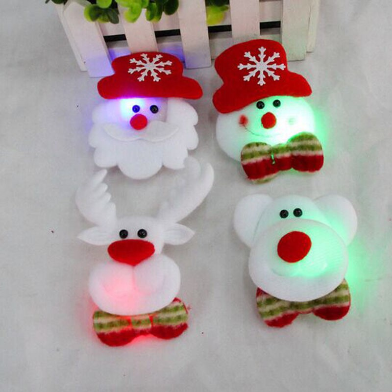 Fashion Light Up Flashing Blinking LED Santa Claus Brooch Badge Adult Kids Christmas Gift(China (Mainland))