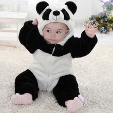 Panda Romper New born Baby Costume Animal Jumpsuit 2016 Cute Infant Boys Girls Romper Baby Clothes Flannel Bebe Clothing