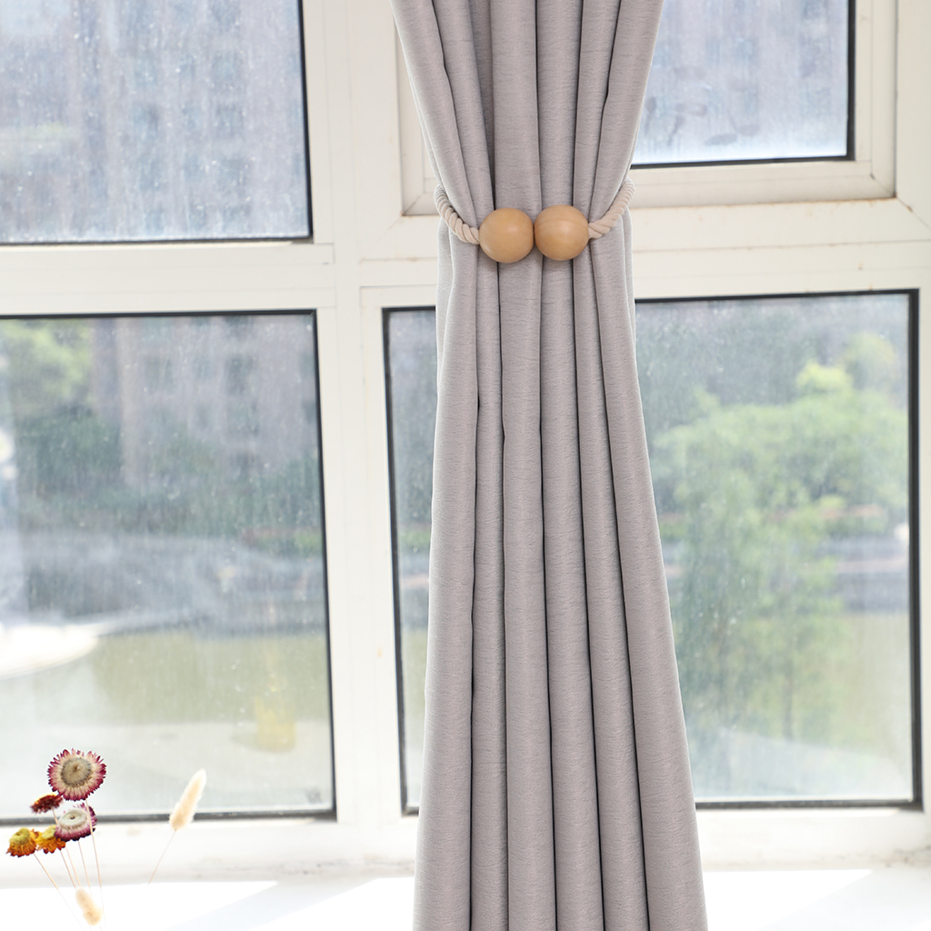 1 Pair Colorful Magnetic Wooden Beads Window Curtain Tie Back Holder Decor for Panel Gauze /Door Curtain 10 Colors Available