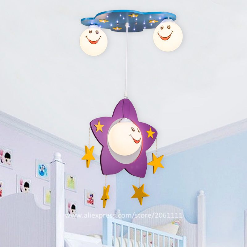 Fancy Wooden kids bedroom hanging indoor lights Star suspended pendant lighting glass lampshade with smile unique pendant lights(China (Mainland))