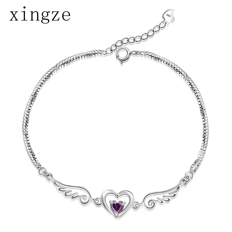 High quality silver plated bracelets Angel Wings lover heart silver plated bracelets(20cm) for women crystal jewelry wholesale(China (Mainland))