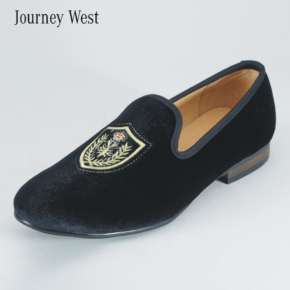 2016 New Style Men Velvet Loafers Luxury Men's Flats Fashion Slippers Men Embroidery Dress Shoes Black Wedding Shoes Size US7-14(China (Mainland))