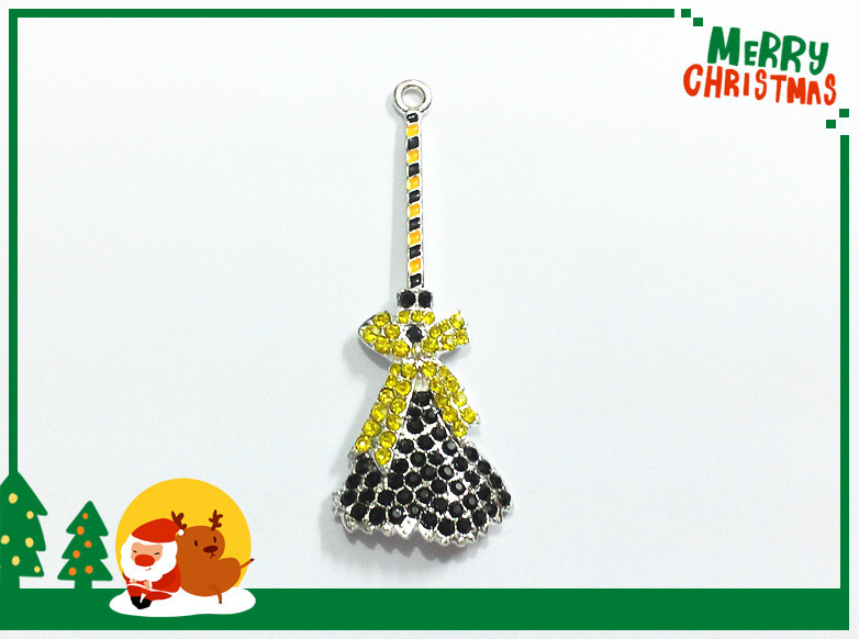 Newest ! 56mm*22mm 10pcs/lot Silver Plated Yellow Broom With Bow Rhinestone Pendants For Halloween Jewelry Making(China (Mainland))