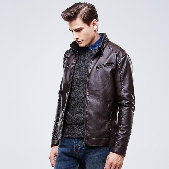 Человек Кожаная Куртка Ветрозащитный Мотоцикл 3 Цвета Slim Fit Ретро Осень мужская Оригинальные Кожаные Куртки Вскользь Пальто Высочайшего Качества