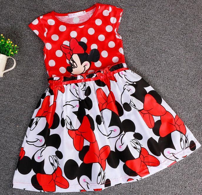 Retail 2015 summer minnie dress kid baby girl dress dot mickey dress