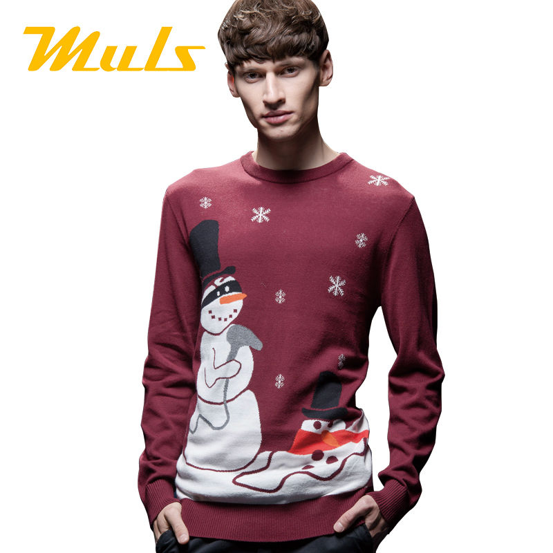 Ugly christmas sweater men fashion pullover jumper 2016 new cotton men sweater big size 6XL 5XL 4XL snowmen pattern 1501007(China (Mainland))