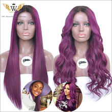 5A Goddess Wiggie Brazilian Purple Silk Base Full Lace Front Human Hair Wig With Baby Hair Virgin Silk Top Lace Front Wig Ombre(China (Mainland))