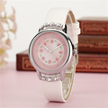 Kezzi Girls Kids Children Watches Rhinestone Flower Leather strap Wristwatches Student Cartoon Quartz Watch k1410 montre
