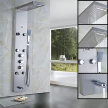 New cascata pioggia doccia termostatica colonna corpo massag jets pannello doccia calda e fredda rubinetto con temperatura display digitale(China (Mainland))