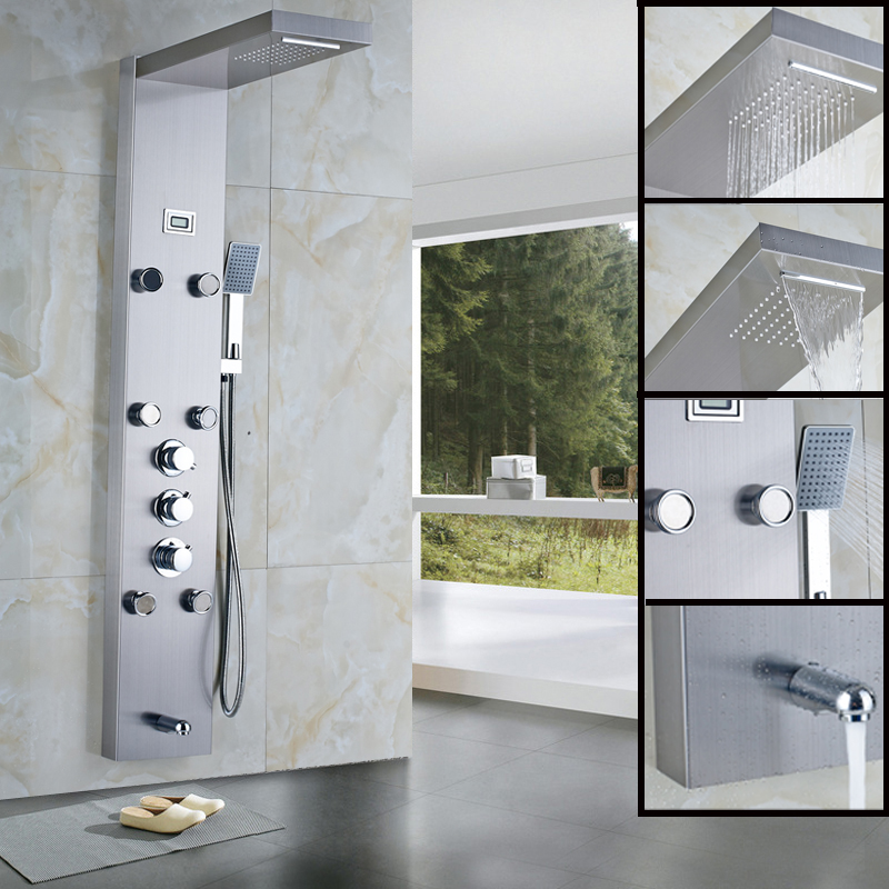 New Waterfall Rain Thermostatic Shower Column Body Massag Jets Hot and Cold Shower Panel Faucet with Temperature Digital Display(China (Mainland))