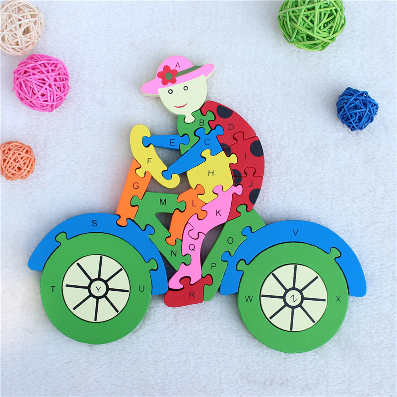 Early Learning Education 3D Puzzle Jagsaw Wooden Alphabet Cognitive Building Actitivity Baby Toy Bike Children's Intelligence(China (Mainland))
