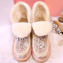 Nieve botas zapatos de Mujer de piel de oveja Slip On Botines con diamantes de imitación zapatos de invierno Warm Fur dentro Mujer Botines Mujer 2015(China (Mainland))