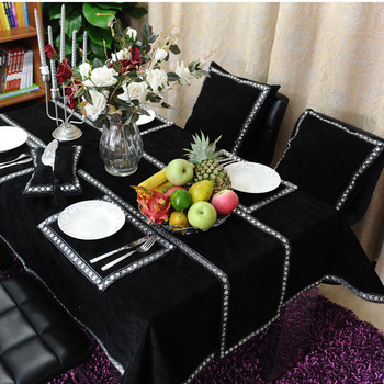 "Freeshipping Luxury black flannelet diamond buckle table cloth 51""*71"" mat table cover modern brief customize"