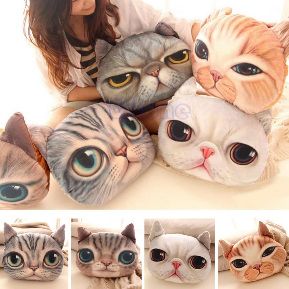 C18 2015 New Soft Plush Stuffed 3D Cute Cat Dog Face Throw Pillow Decor Cushion Toy Doll Gift free shipping(China (Mainland))