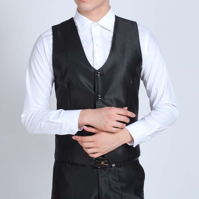 98 European and American Brand Mens Fashion Party Prom Shiny Black Waistcoat Gentleman Wedding Vest Men Business Formal Suit Vests