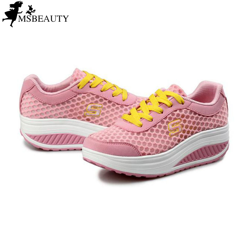 5c170 New 2015 summer style womens sneakers shoes breathable fitness Shape-Ups platform lose weight elevator wedges shoes <br><br>Aliexpress