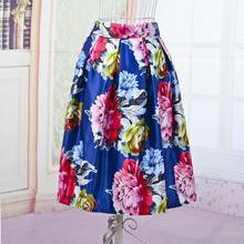 Women Fashion Elastic High Waist Flower Printed Skirt Elegant Shining Color A-Line Skater Style Womens Sexy Satin Skirt Vestidos