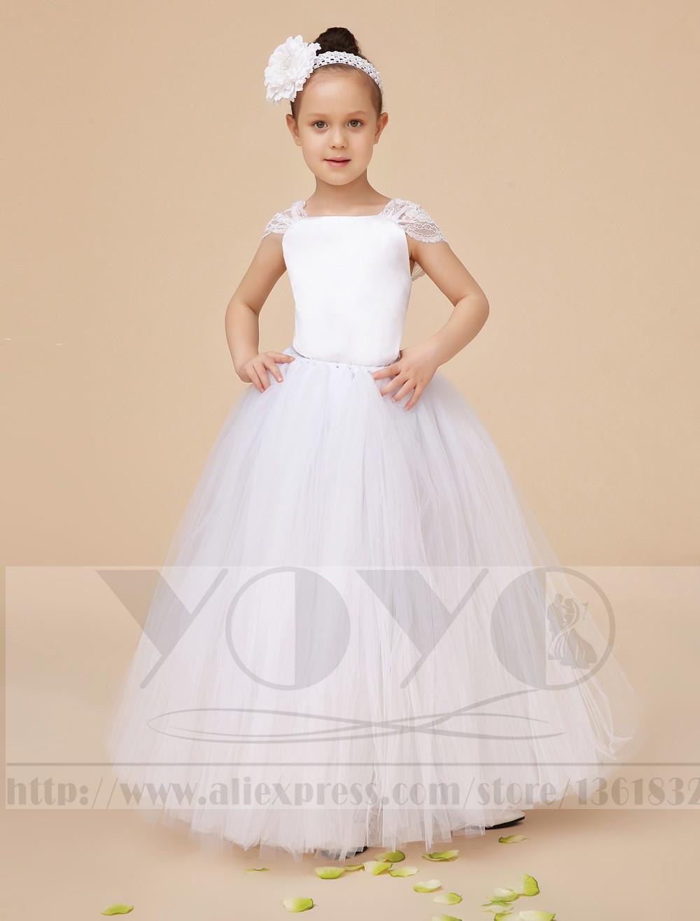 Скидки на Мода кот маленькие девочки платья с кружевом элегантный формальное свадебные цветы девушки платья [ головной убор входит ]