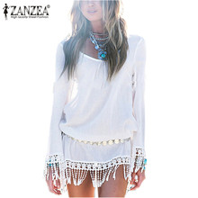 Buy 2017 Summer Style Sexy Women Dress O Neck Lace Tassel Chiffon Mini Dresses Casual Loose Short Party Vestidos Bohemian Beach Robe for $9.93 in AliExpress store