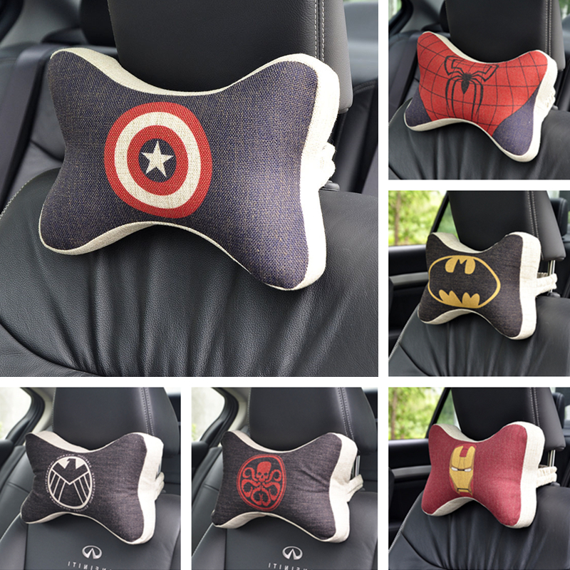 New Cartoon Super hero Car pillow neck rest support headrest Travel Soft plush pillows seat Cushion back baby Space Memory foam(China (Mainland))