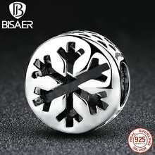 925 Sterling Silver Merry Christmas Gift Snowflake Beads Charms Fit Original Bracelets & Bangles DIY Fine Jewelry Making - BISAER Brand Fashion store