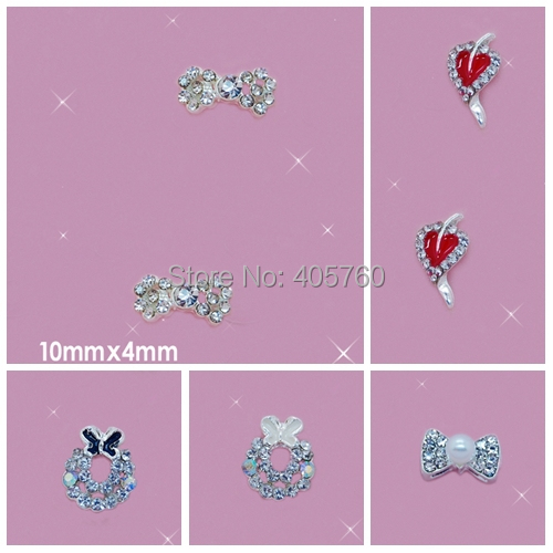 Simple DIY Nail art ideas Bright Crystal 3D Alloy heart and bow-tie long shape stickers and nail art tutorial(China (Mainland))