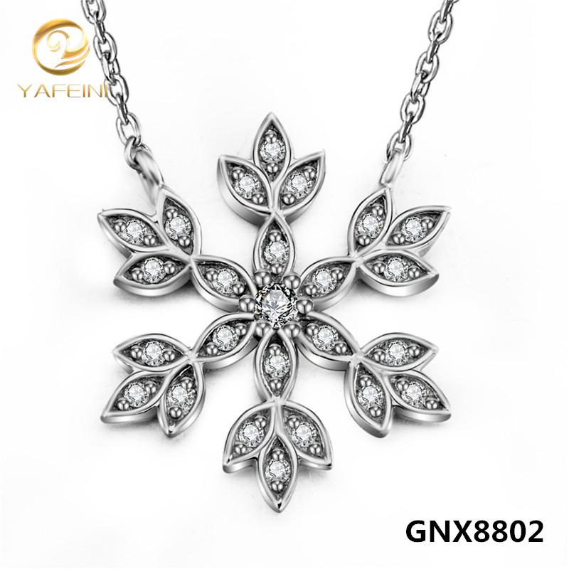 Высокое качество стерлингового серебра 925 пробы снежинка ожерелье оптовая продажа серебряное ожерелье рождественский подарок для женщин GNX8802