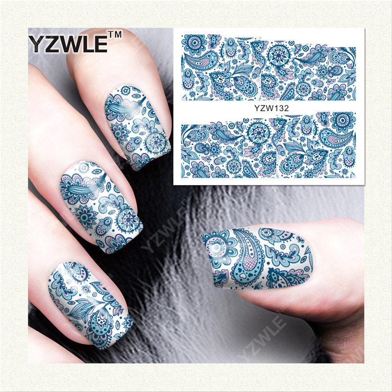 YZWLE 1 Sheet DIY Decals Nails Art Water Transfer Printing Stickers Accessories For Manicure Salon (YZW-132)(China (Mainland))