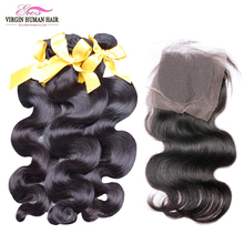 Brazilian virgin Hair with closure Body Wave 3 Bundles With Lace Closure Grade 6A 100% Unprocessed Human Hair Shipping Free(China (Mainland))