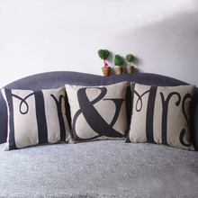 MR /MRS /ALPHA printed Linen Square hugging Pillow Cover