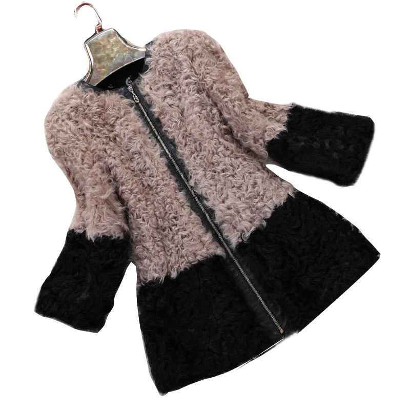 Lambswool Fur Coat Full Sleeves Long Jacket Sheep Skin Overcoat with Zipper 2015 Winter O-neck Overcoat Outerwear LQR020Одежда и ак�е��уары<br><br><br>Aliexpress