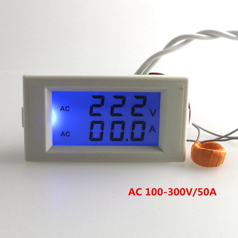 10PCS/LOT Blue LCD Digital AC voltmeter ammeter AC 100-300V volt Voltage Meter Current ampere Panel Meter AC 0-50A B0040-10(China (Mainland))