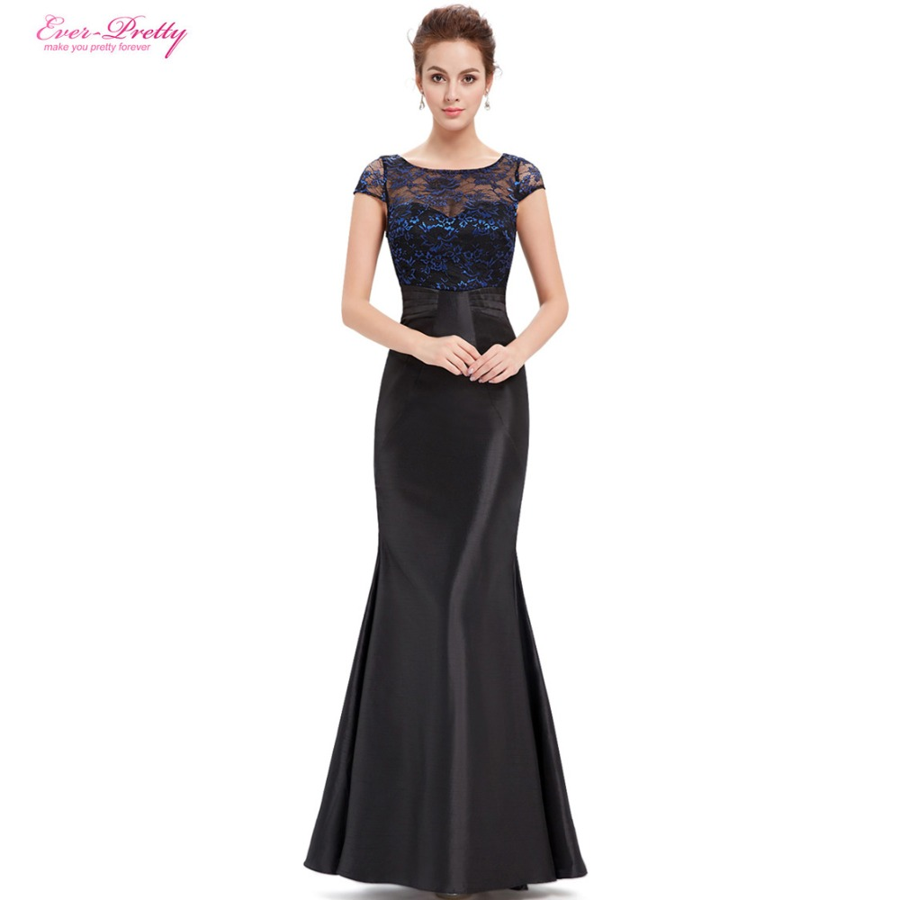 Evening dress women 39 s blue and black round neck ever for Women s dresses for weddings