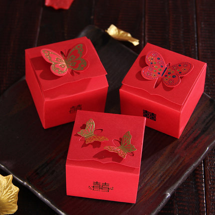 Hot sale 50pcs chinese Red with Butterfly Wedding Favor Candy Box wedding souvenirs wedding party decoration mariage(China (Mainland))