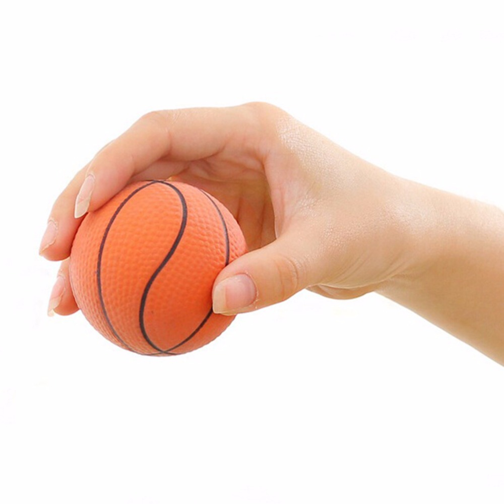 Dia 6.3CM Orange Basketball Shaped Hand Wrist Exercise Stress Relief Squeeze Soft Foam Baby Ball Toy