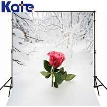 6.5X10Ft Photo Studio Backdrop Camera Fotografica One Red Rose Flower On Snow Floor Front Branches For Wedding Thick Cloth