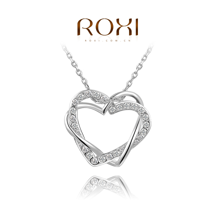 ROXI Christmas gift genuine Austrian crystals flowers double heart necklace rose gold plated 100 hand made