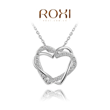 ROXI Christmas gift genuine Austrian crystals flowers double heart necklace rose gold plated 100%hand made jewelry,2030025425