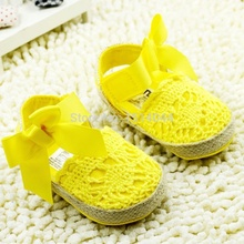 New Hot Solid Yellow Fretwork Butterfly-Knot Baby Footwear Girl Summer Shoes Baby Girl First Walkers Soft Bottom Shoes Bebe Girl(China (Mainland))