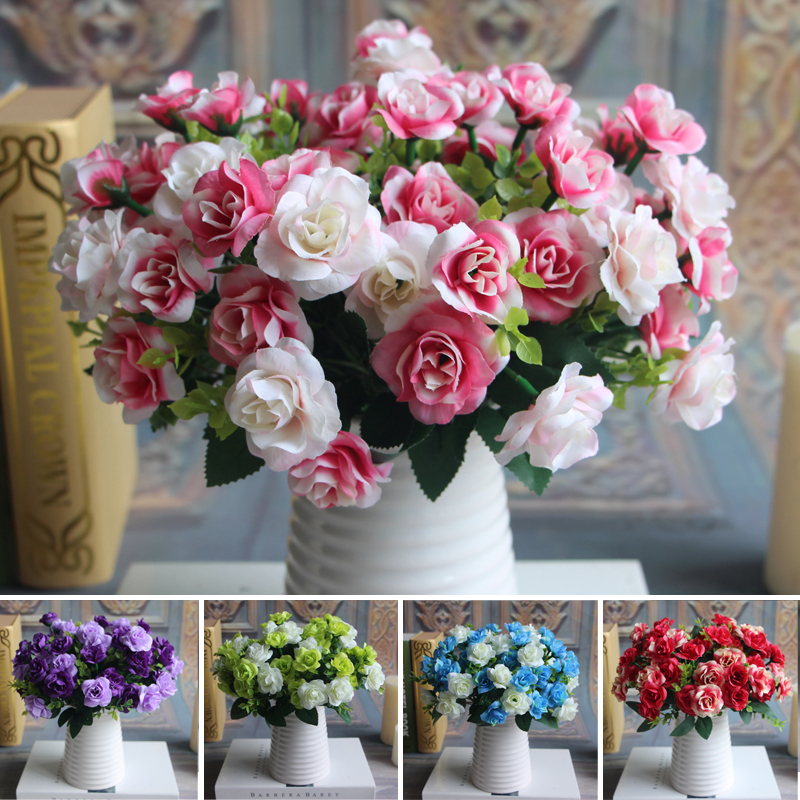 Austin Bunch 15 Heads Spring Silk Flowers Artificial Rose Wedding ...