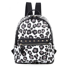 Leopard printing small backpack female pu leather backpack women fashion bolsas mochilas femininas(China (Mainland))