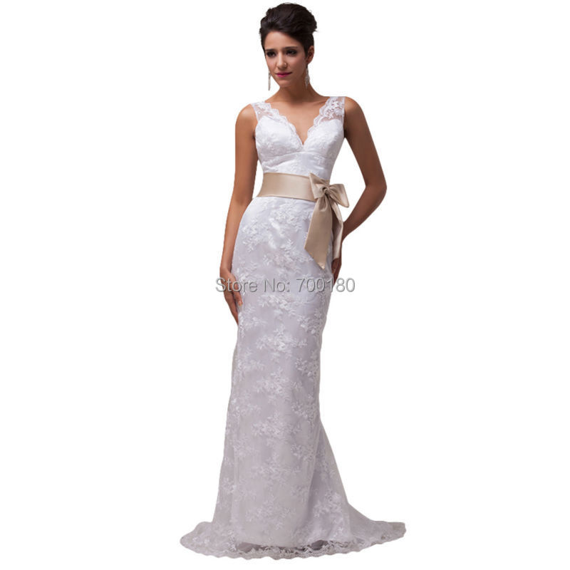 2015 GK 100% Real sample Ivory/Beige Backless Lace Dress Long Wedding Bridal Gown Women Long Prom Dress CL3850(China (Mainland))