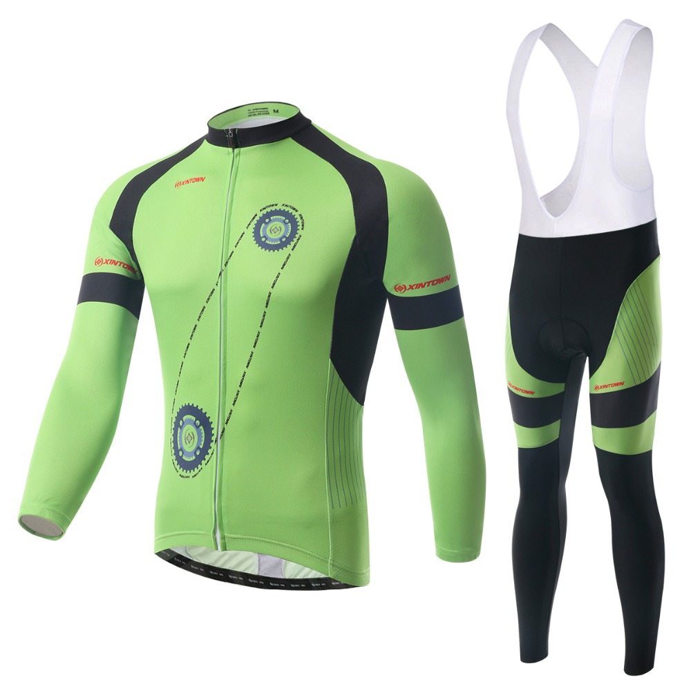 Gearwheel Printing Cycling Jerseys Suits Bib Green Long Sleeve Winter Mens Bike Sports Ride Shirts Leggings - Tobe The Best store