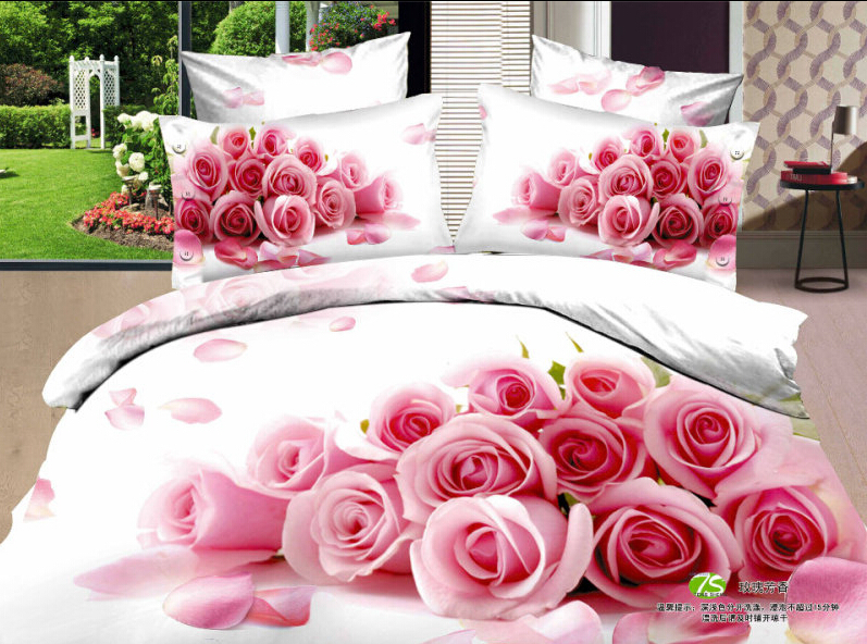 twin full size 3d pink rose flowers country bedding sets beautiful bedding design your own bedding white bedding duvet covers(China (Mainland))