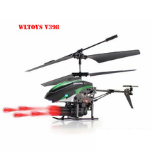 Newest WLToys V398 Cool Missile Launching 3.5CH RC Remote Control Helicopter With Gyro Green Red Free shipping &wholesale(China (Mainland))