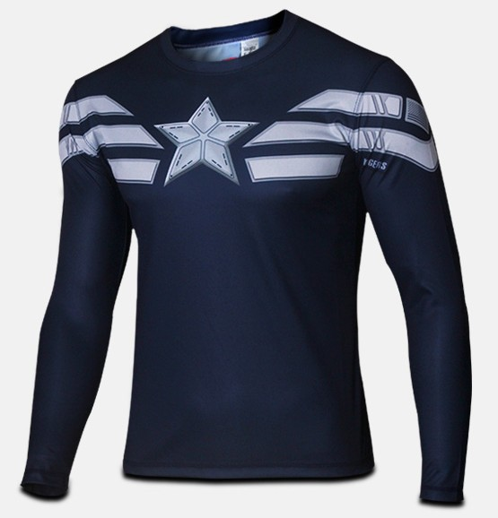 Clearance Sale Hot Superhero Mens T Shirt Captain America T-Shirt Winter Soldier Tees Top Long Sleeve S-4XL - julia hu's store