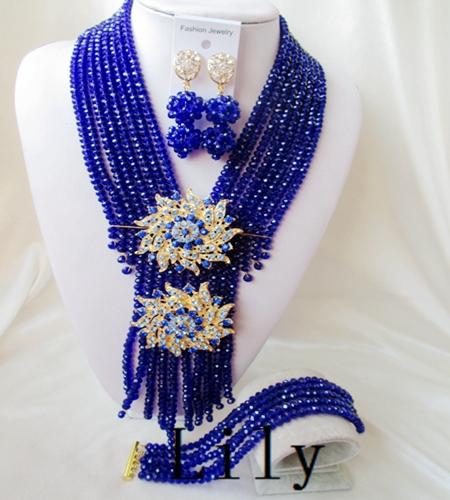 Здесь можно купить  Luxury Crystal Necklaces Bracelet Earrings African Nigerian Wedding Beads Jewelry Set new free shipping  C-1049  Ювелирные изделия и часы