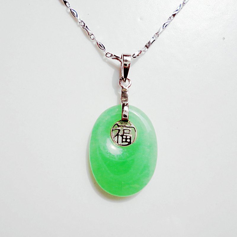 Chinese traditional style fasion 925 pure silver platinum plated necklace with jade pendant / birthday gift/ free shipping(China (Mainland))