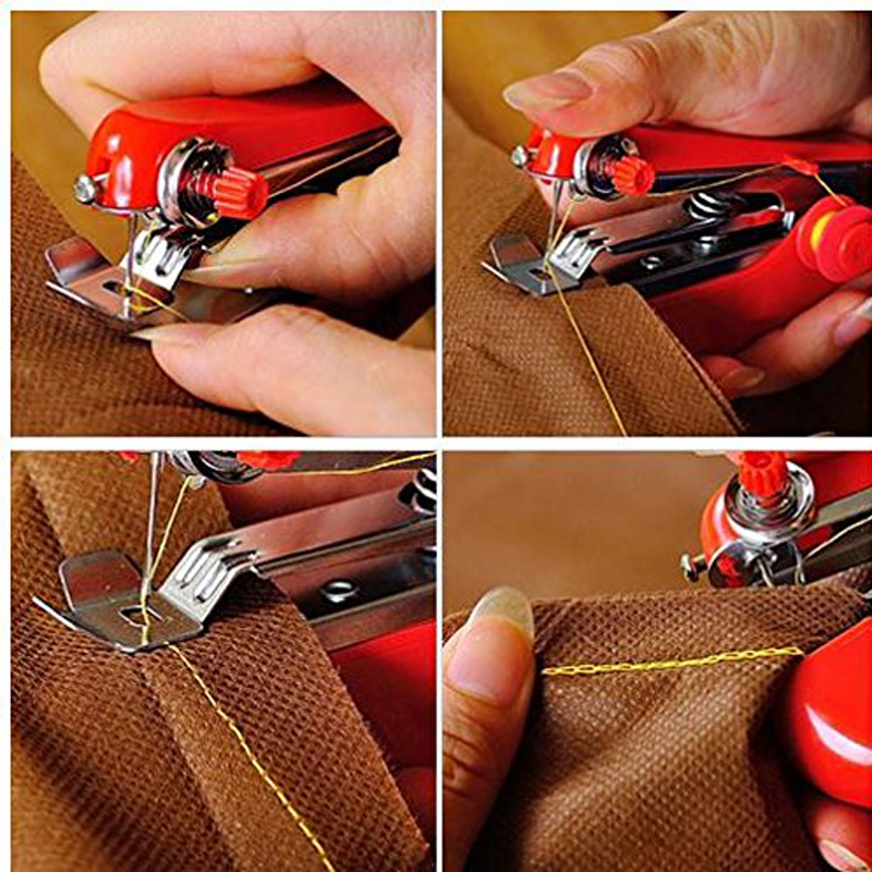 Mini Portable Hand-Held Sewing Machine Clothes Fabric Needlework Cordless Sewing Tool 11 x 4.5 x 7cm Color send Randomly